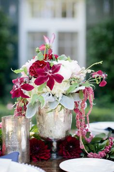 #Centerpiece | #Amaranthus | Theo Milo Photography | On SMP:  http://www.StyleMePretty.com/2012/11/05/charlotte-election-themed-photo-shoot-from-theo-milo-photography/