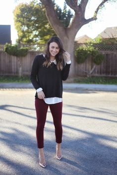 Burgundy pants for fall.
