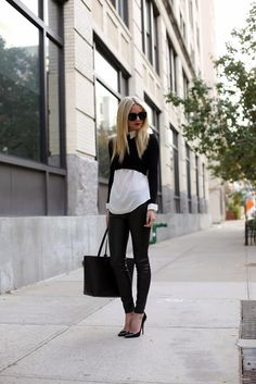black, white & leather