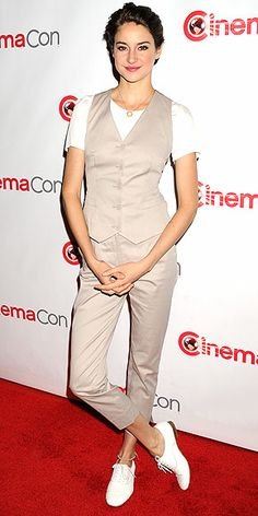 SHAILENE WOODLEY We have a lot of thoughts about Shailene's khaki Dolce & Gabbana vest and cropped trousers, seen at CinemaCon in Las Vegas, but we'll keep them to ourselves and just let you vote.