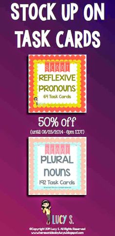 $ Stock up on task cards and save 50% on two of my resources: Reflexive Pronouns Scoot and Plural Nouns Scoot (valid until tomorrow) Both are great for 2nd grade!