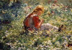 A Young Girl In a Flower Garden, Evert Pieters. Dutch (1856 - 1932)