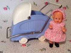 Antiker Fiedler&Podey Puppenwagen m. Edi Puppe f. alte Puppenstube Puppenküche❤️