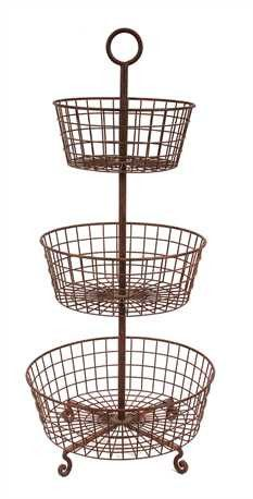 Rustic Three-Tiered Wire basket