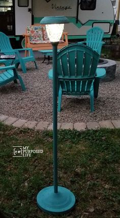 Repurposed Floor Lamps make great patio solar lights - - Do you love a good thrift store makeover? How about when it hangs around so long you get to update it again? That's the beauty of thrift store makeovers. Just add paint! Diy Patio, Backyard Patio, Backyard Landscaping, Solar Patio Lights, Patio Lighting, Solar Lanterns, Solar Light Crafts, Diy Solar, Solar Licht