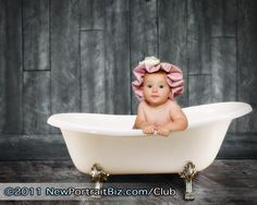 baby in a bath tub, Love the idea of the shower cap!