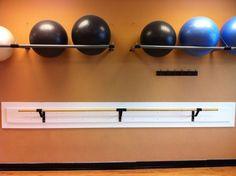Stability Ball storage and barre Basement Gym, Garage Gym, Basement Ideas, Pilates Studio, Home Gym Equipment, No Equipment Workout, Fitness Equipment, Cabinet Medical, Ball Storage