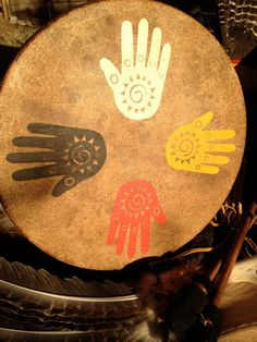 """Native American style frame drum with symbology artwork - """"Spirit of the Four Directions"""". $175.00, via Etsy."""