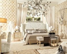 Glamorous and sophisticated feminine bedroom