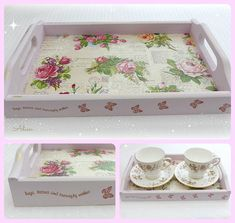 Pink Tray, Vintage Roses Small Tea for Two Tray, Gift Idea, Mothers Day Gift
