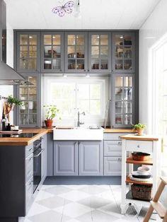<br> Small Kitchen Cabinet Design, Small Kitchen Cabinets, Ikea Kitchen Design, Home Decor Kitchen, Kitchen Ideas, Gray Cabinets, Kitchen Small, Dining Room Design, Butcher Block Countertops Kitchen