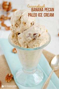 This Caramelized Banana Pecan Paleo Ice Cream Recipe only has 4 ingredients - Bananas, butter, coconut milk and pecans.  All you need is a freezer and a blender.