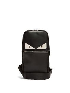 Fendi Bag Bugs Leather-panelled Nylon Cross-body Bag In Black Fendi Bag Bugs, Monster Eyes, Red Satin, Messenger Bag, Crossbody Bag, Black Leather, Menswear, Backpacks, Mens Fashion