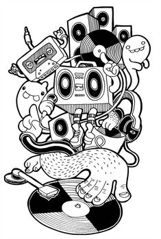 Coloring pages graffiti characters drawings. Wie Zeichnet Man Graffiti, Music Graffiti, Graffiti Drawing, Doodle Art Drawing, Drawing Sketches, Art Drawings, Vexx Art, Mural Art, Music Doodle