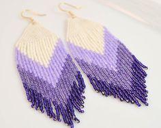 Native American Inspired Bead Fringe Earrings. Ombre Purple Chevron