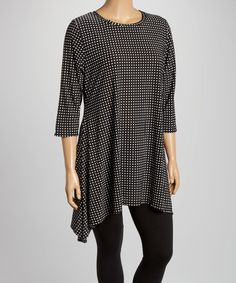 Loving this Black & White Dot Sidetail Tunic - Plus on #zulily! #zulilyfinds