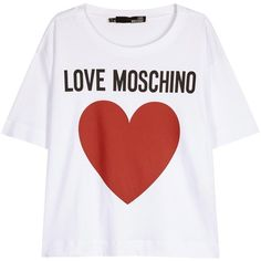 Womens Short-Sleeved Tops Love Moschino White Printed Cotton T-shirt ($105) ❤ liked on Polyvore featuring tops, t-shirts, white tee, white t shirt, print t shirts, cotton t shirt and pattern tops
