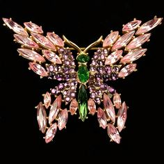 Trifari 'Alfred Philippe' Emerald Amethyst and Pink Topaz Butterfly Pin
