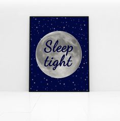 Moon print sleep tight bedroom art nursery prints by PrintsOfHeart, £4.50