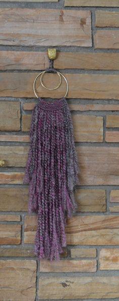 Medium  Sultry Boho Chic Purple Fiber Wall Hanging by AstralRiles.  #ombre #wallart #walldecor #fiberart #purple #gray #yarn #brasshoops #spring #homedecor #neon #handmade #handdyed #wool #etsy #astral