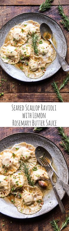Seared Scallop Ravioli with Lemon Rosemary Butter Sauce | halfbakedharvest.com @hbharvest