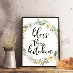 """""""bless this kitchen"""" Kitchen Printable - spoonyprint Home Decor Quotes, Blessed, Poster Prints, Printables, Dollhouse Ideas, Kitchen, Commercial, Crafts, Pdf"""