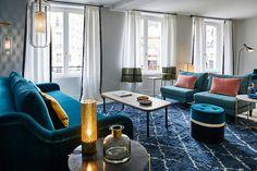 Salon bleu de la Maison Sarah Lavoine,