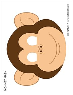 Free printable black-and-white monkey mask and colored monkey mask to craft into wearable paper masks. Animal Masks For Kids, Animals For Kids, Mask For Kids, Animal Mask Templates, Printable Animal Masks, Monkey Template, Templates Printable Free, Printables, Printable Paper