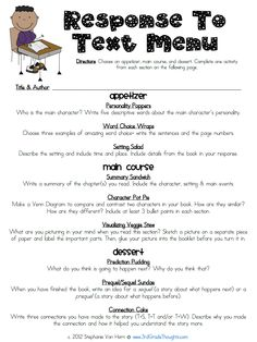 """Response to Text"" MENU from Grade Thoughts: Helpful Parts of Our Schedule & Star Homework Update. Cute idea for independent work or homework! Reading Workshop, Reading Skills, Teaching Reading, Guided Reading, Reading Resources, Reading Response Activities, Reading Help, Reading Tips, Reading Centers"