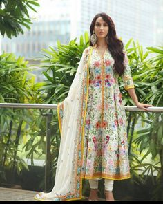 Exclusive high quality designer heavy thread embroidered kalidar salwar suit by craversvogue Pakistani Dresses, Indian Dresses, Indian Outfits, Indian Clothes, Bollywood Fashion, Bollywood Actress, Bollywood Girls, Bollywood Style, Beautiful Indian Actress