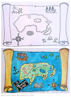 Cheers to the art of mapmaking! Over the Summer I took an e-course offered by Patty at Deep Space Sparkle . It was super informative (as . Pirate Maps, Pirate Theme, Pirate Activities, Art Activities, The Pirates, Deep Space Sparkle, Pirate Crafts, 2nd Grade Art, Treasure Maps