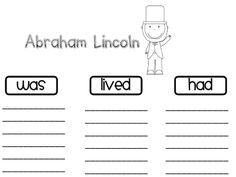 Free!! Past tense activity printable for Lincoln...more on this blog for President's Day!