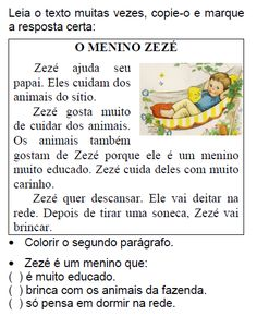 Texto O MENINO ZEZÉ