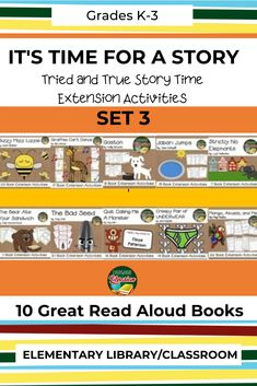 """Be sure to check out set 3 of """"It's Time for a Story"""". The set has extension activities for 10 great read aloud books. Great for your elementary school library or classroom. #ElementaryLibrary #SchoolLibrary #BookExtensionActivities #ReadAloudBooks Library Lesson Plans, Library Lessons, Elementary School Library, Elementary Schools, Teacher Blogs, Teacher Resources, Prep Book, Read Aloud Books, School Librarian"""