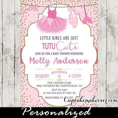 Adorable Tutu baby shower invitations featuring a pink ballerina dress, ballet shoes and tiara hanging from a clothesline against a patterned soft pink backdrop with a sprinkle of faux gold glitter. The elegant and stylish tutu baby shower invitations are perfect for celebrating the upcoming arrival of your little girl. #babyshower #babyshowerinvitations #ballerina #tutu