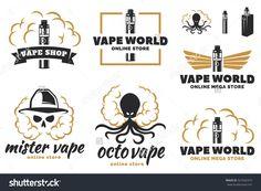 Set of vape, e-cigarette logo, emblems and badges isolated on white background. Vector illustration. Skull with smoke, octopus with smoke.