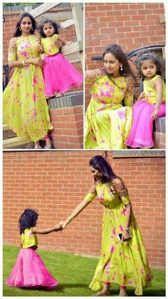 Ideas mom and baby dress indian 2020 Mom Daughter Matching Dresses, Mom And Baby Dresses, Girls Dresses, Mother And Daughter Dresses, Mother Daughters, Twin Outfits, Kids Outfits, Family Outfits, Kids Ethnic Wear