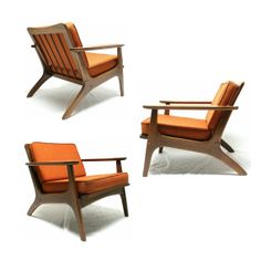 Vtg Unique Mid Century Modern Orange Lounge Arm Chair Danish Selig Larsen  Era On Etsy,
