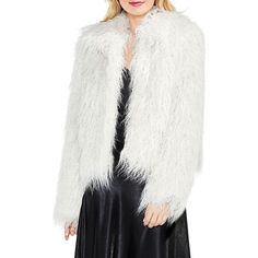 Vince Camuto Women's Faux Fur Crop Jacket ($119) ❤ liked on Polyvore featuring outerwear, jackets, rose taupe, cropped jackets, fake fur jacket, white faux fur jacket, vince camuto jacket and faux fur jacket