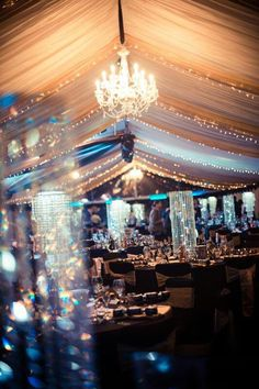 Gatsby inspired marquee, could be great for a prom theme! Wedding Ceiling, Marquee Wedding, Tent Wedding, Dream Wedding, Wedding Lighting, Wedding Things, Gatsby Theme, Gatsby Wedding, Gatsby Party