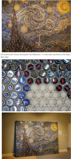 Starry Night with bottle caps.how effin awesome! Bottle Cap Art, Bottle Cap Crafts, Different Kinds Of Art, Trash Art, Weird Shapes, Cycling Art, Creative Activities, Recycled Art, Art Lessons