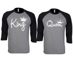 King and Queen Write Couple Gray / Black Baseball T-shirt