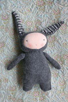 grey rabbit  spunky creature  handmade wool animal by humbletoys