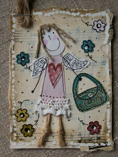ATC_anioł z torebką Fabric Cards, Fabric Postcards, Art Wall Kids, Art For Kids, Paper Art, Paper Crafts, Music Crafts, Atc Cards, Sewing Art