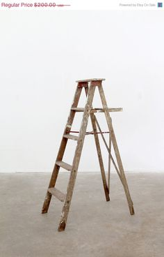 SALE Antique Wood Ladder / Old Wooden Painters Ladder by 86home, $170.00