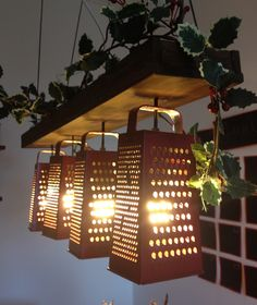 Cheese Grater Kitchen Lamp - Interesting yet simple lighting idea for the kitchen