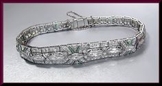 Platinum Vintage Art Deco 1920's Diamond and Emerald Bracelet on Etsy, $13,500.00