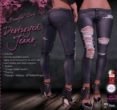 Destroyed Jeans V1 With Appliers by Beautiful Dirty Rich
