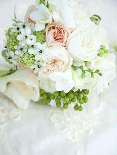 Blush, white, green
