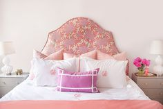 Caitlin Wilson Design: Girly pink bedroom with arched headboard upholstered in Caitlin Wilson Textiles Berry ...